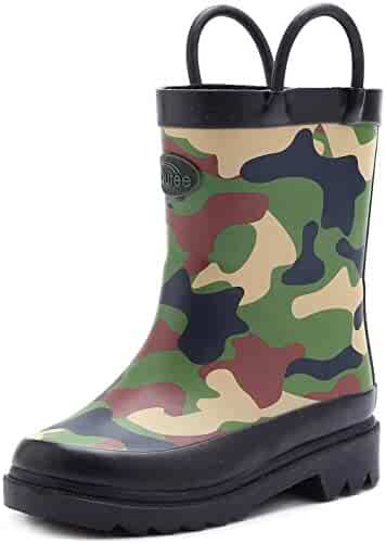 Outee Toddler Kids Rain Boots Rubber Waterproof Shoes Cute Print with Easy-On Handles (Polka Dots/Camo)