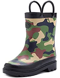 Toddler Kids Rain Boots Rubber Waterproof Shoes Cute Print with Easy-On Handles (Polka Dots/Camo)