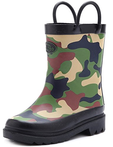 Outee Boys Kids Rubber Rain Boots Camo Waterproof Shoes Green Cute Print with Easy-On Handles Classic Comfortable Removable Insoles Anti-Slippery Durable Sole with Grip (Size 1) by Outee