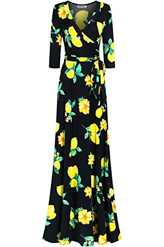 - Bon Rosy Women's #MadeInUSA 3/4 Sleeve V-Neck Printed Maxi Faux Wrap Lemon Dress Summer Wedding Guest Party Bridal Baby Shower Maternity Nursing Black L