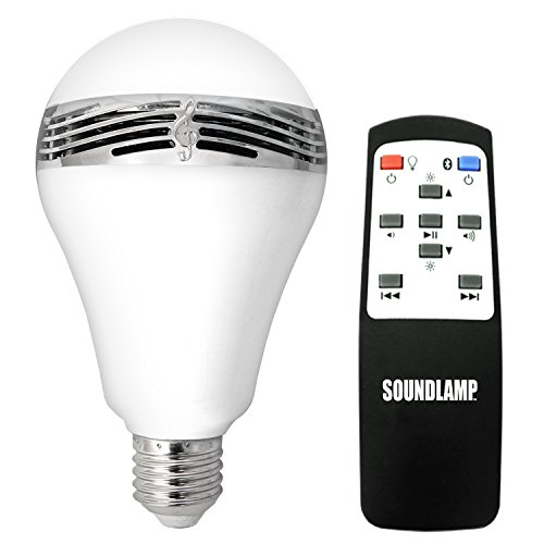 SOUNDLAMP Dimmable Cool White LED Bulb w 7W and up to 650 Lumens, Built in 2.5