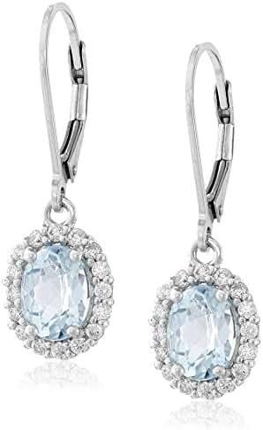 Sterling Silver Gem Halo Leverback Earrings