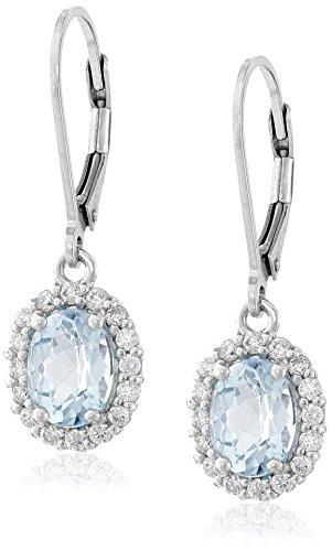 Sterling Silver Halo Leverback Earrings