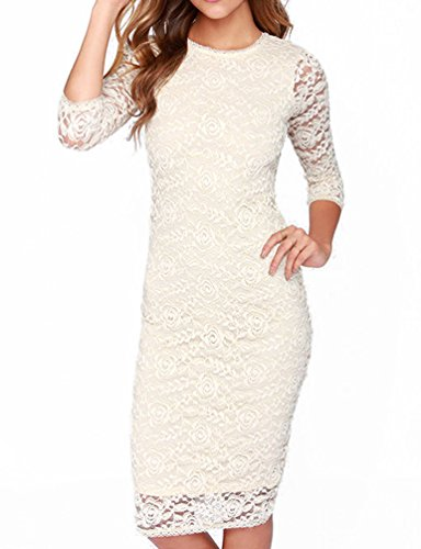 Mantos Eternity Women's Elegant Floral Lace 2/3 Sleeve Slim Evening Dress,White,US/10