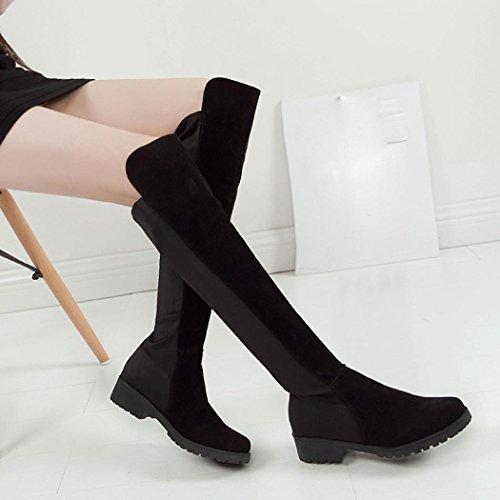 Sur Stretch Chaussures IGEMY Haut Le Noir Slouchy Femmes Cuisse Plat Sexy Genou Talon Bottes 711qXEw