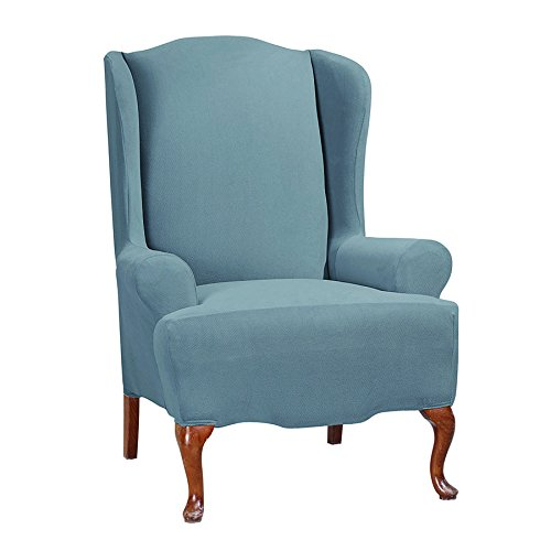 Sure Fit Stretch Morgan - Wing Chair Slipcover - Storm Blue (SF45362)