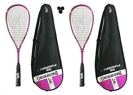 2 x Browning Plasma Nano 120 rosa raquetas + 3 pelotas de Squash ...