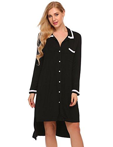 Button Front Nightshirt - Ekouaer Women Boyfriend Style Long Sleeve Sleepwear Button-Front Nightshirts,X-Large,Black