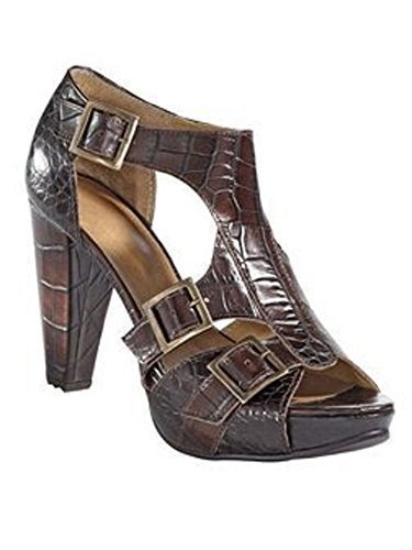 Sandalette in Krokooptik aus Nappaleder in Braun Braun