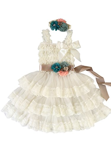 Rosy Kids Vintage Chic Flower Girl Lace Dress Flower Sash Hair Flower, Ivory Dress Champagne Sash Teal Blue Pink Flower, S