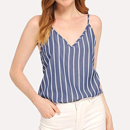 Tops shirt Fnkdor Col Débardeur Bouton Stripe Tank Tee V Marin Femmes Manche À Sans En Haut OqnB1v