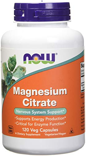 NOW Magnesium Citrate 400 Milligram 120 Veg Capsules, 2 Pack (Foods 120 Caps)