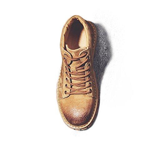 Scarpe vera da per di uomo shoes Stivali Stivali alti uomo gentiluomini Scarpe in Martin Up da 2018 Lace Stivaletti Marrone pelle Jiuyue 5qEzPnE