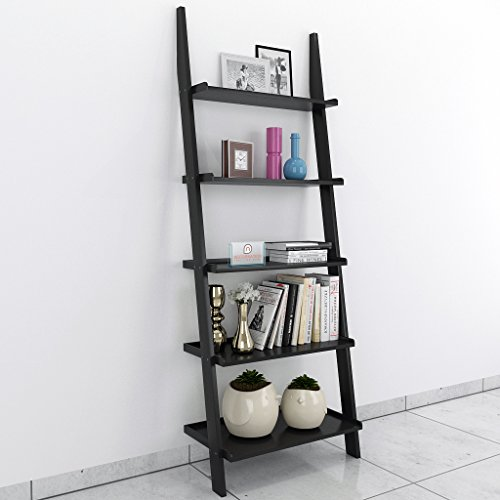 DecorNation Jasper Leaning Wall Bookcase Ladder Shelf  amp; Room Organizer Storage Divider Wood Furniture  Black