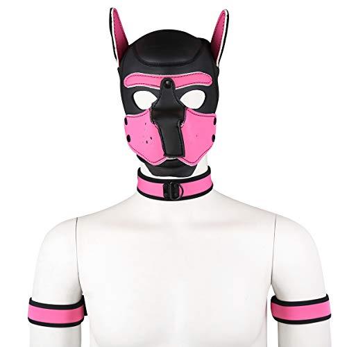 HOT TIME Neoprene Custom Collar Choker And Armband Combo Set, NO HOOD MASK ONLY COLLAR AND ARMBAND (Pink)