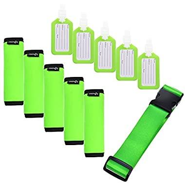 Cosmos ® 5 Pcs Fluorescent Green Comfort Neoprene Handle Wraps/Grip/Identifier + Luggage Tags + Fluorescent Green Nylon Add a Bag Luggage Strap
