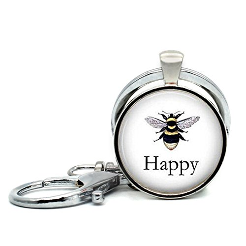 Woman Lithograph - Keychain Round Pendant BEE Happy Vintage Bee Lithograph Honeybee Glass Cabochon Key Rings Stainless Steel Metal Handmade Charm Pendants