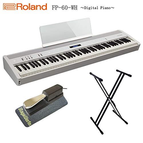 ローランド 電子ピアノ FP-60 ホワイト/Roland【X型スタンド/ペダル/滑り止め付き】   B07NDFV9Q5