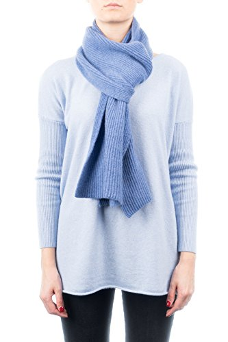 Ribbed Cashmere Scarf (Dalle Piane Cashmere - Ribbed Scarf 100% cashmere - Woman/Man, Color: Light blue, One size)