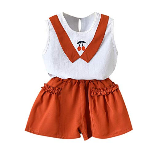 Willsa Girls Outfits, Cute Toddler Kids Baby Clothes Cherry Vest Shirt Tops+Shorts 2PCS ()