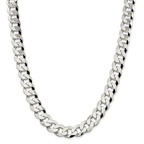 Sterling Silver 14mm Beveled Curb Chain Bracelet - 9 Inch by JewelryWeb