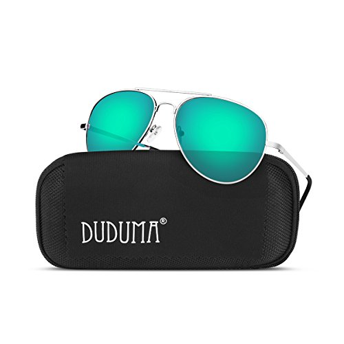 Duduma Premium Full Mirrored Aviator Sunglasses w/ Flash Mirror Lens Uv400 (Silver frame/Green-Blue mirror - Blue Aviators Flash