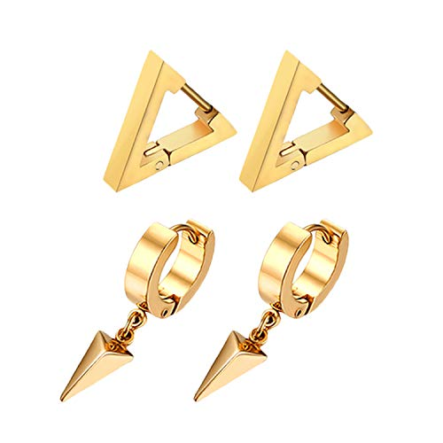 Flongo Men's Women Punk Stainless Steel Triangle Shape Design Hoop Earrings,Christmas Thanksgiving New Year Wedding Gift
