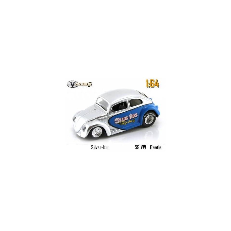 Jada Dub City VDubs Silver & Blue Slug Bug Racing 1959 Volkswagen VW Beetle 164 Scale Die Cast Car