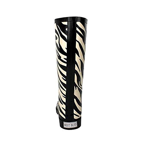 Donna Dev-14 Pozzanghere Pioggia E Neve Metà Polpaccio Stivali Impermeabili Scarpe Zebra