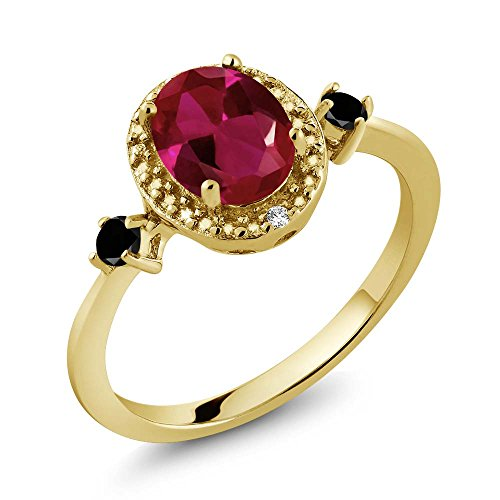 1.29 Ct Oval Diamond (1.29 Ct Oval Red Created Ruby Black Diamond 18K Yellow Gold Plated Silver Ring With Accent Diamond)