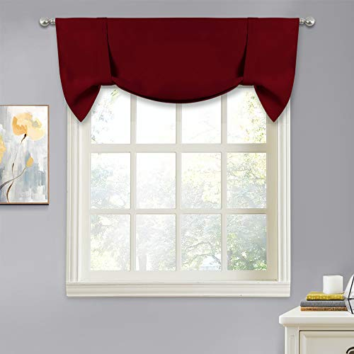(NICETOWN Thermal Insulated Blackout Curtain - Tie Up Shade for Small Window, Window Valance Balloon Blind, Light Reducing Drape (Burgundy, 46