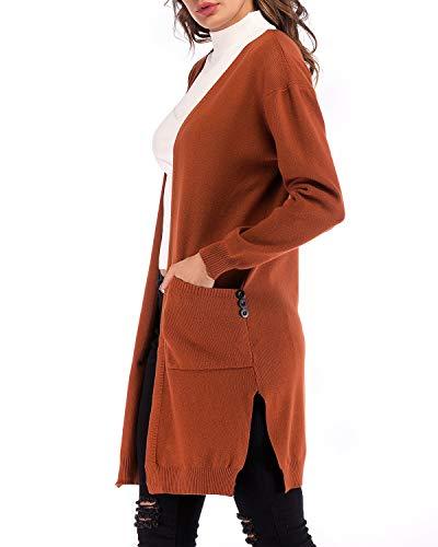 Frontale Aperto Per E Scollo Tasche Le V Wuzifu V Caramel Cardigan Donne Con A 6E1vfq