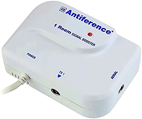 Antiference 4 Way TV Signal Amplifier Booster Tuned to Cut Out 4G White