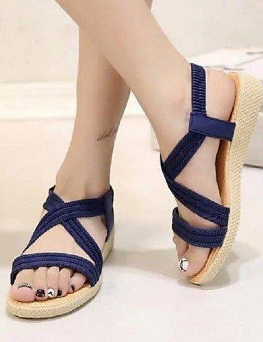 ShangYi Women's Shoes Fahion All Match Simple Casual Flat Heel Comfort Sandals Dress Blue 3Q5Xnrcxj