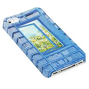 TL Window Pattern Protective Case for iPhone 4 and 4S (Blue)