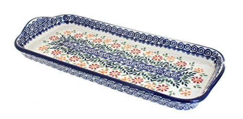 Polish Pottery Garden Bouquet Bread Tray with Handles