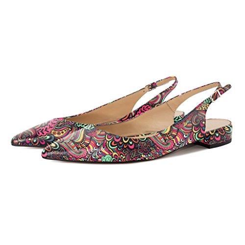 Eldof Sandals Heel Flower Shoes 10CM Women's red Pointed High Decoration Toe Bowtie Slingback Heels Office xFrtxq1Ew