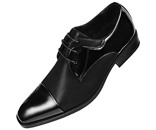 - Amali Mens Black Fishnet Tuxedo Dress Shoe Patent Sides and Cap Toe - Style Draper-000, Black, 9 D(M) US