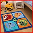 Childrens Play Dinosaur Rugs 90 x 90cm Perfect For Any little Boys Bedroom Cheap and Affordable High Quality Rugs