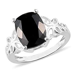 925 Sterling Silver Cushion Black Tourmaline Engagement Ring for Women Cttw 2.5