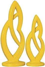 Duo Escultura Kiss G E P Ceramicas Pegorin Amarelo