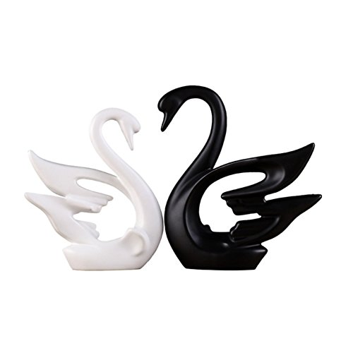 Swan decorations Ceramics Set Serving Shape Design Decorative Crafts Originality Home Decoration Furnishing Animal Ornament (Black and white (Black Ceramic Vase)