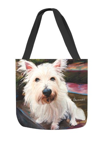 Manual Woodworkers & Weavers Little Westie Paws and Whiskers Square Tote Bag, 17-Inch