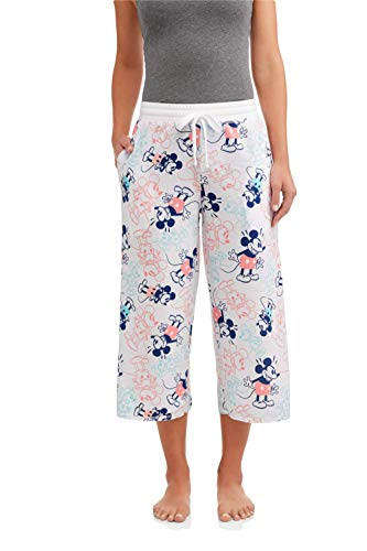 (Disney Women's Mickey Mouse Vintage Style Night Sleep Lounge Pajama Pants (Medium (8-10)) White)