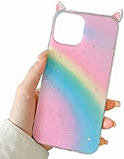 TYWZ Rainbow Case Cover for Samsung Galaxy S20 Ultra,Cute Cat Ear Silicone Gel Rubber Slim Fit Glitter Bumper Cover for Women Girls-Cat Ear,Pink Blue