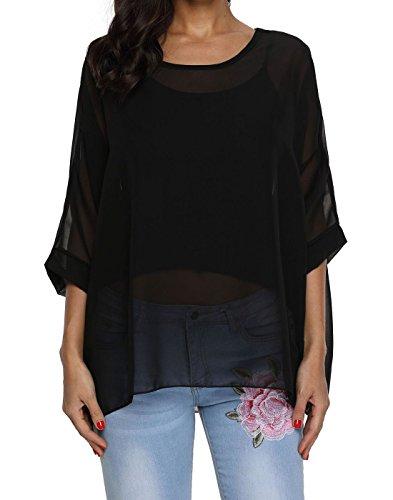 Rokou Women Chiffon Blouse Floral Batwing Sleeve Beach Loose Tunic Shirt Tops (NewC24) ()