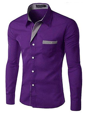 HAN-NMC Hombres Slim Fit Polo Stripe Negocio Formal Camisa de Vestir de Manga Larga,Trabajo/Formal Camisa sólida,2XL,púrpura: Amazon.es: Deportes y aire libre