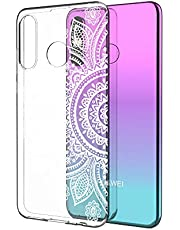 Clear Case for Huawei P30 Lite with Screen Protector,QFFUN Ultra Thin Slim Fit Soft Transparent Silicone Phone Case Crystal TPU Bumper Shell Scratch Resistant Protective Cover - Sunflower