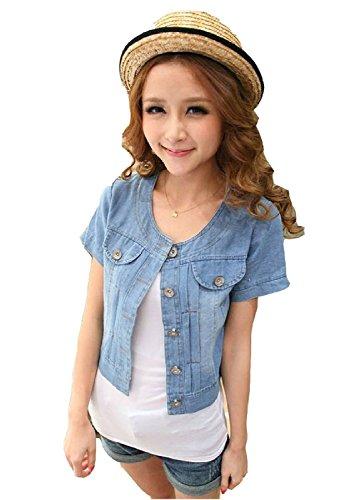 Womens Jean Coat Ladies Denim Jacket Girls Short Sleeve Sweet Outwear ()