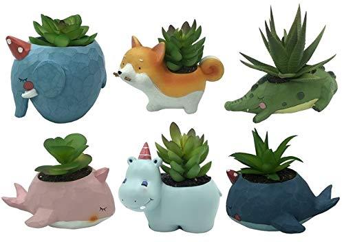 Fotcus - Juego de 6 macetas con forma de cactus y cactus de cactus ...